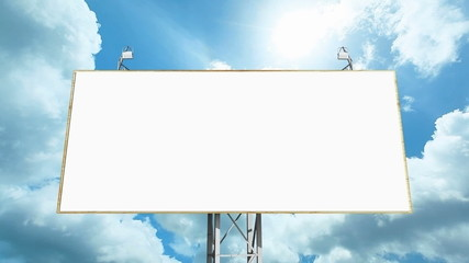 Blank billboard against running clouds