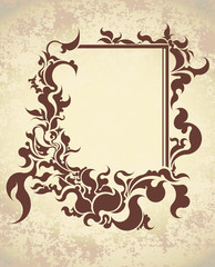 Vintage frame on old textured paper. Vector illustration.