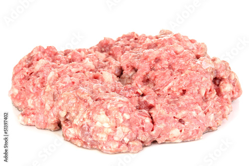 raw ground meat isolated on white