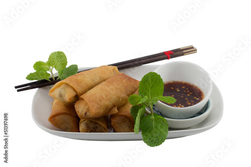Deep fried spring rolls on plate