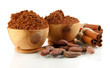 Cocoa Powder In Wooden Bowls A...