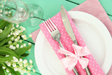 Fototapety Table setting in white and pink tones