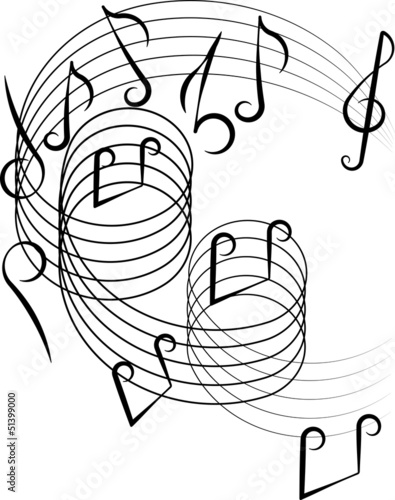 Musical notes on a white background. Vector illustration.