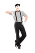 Full length portrait of a male mime artist posing