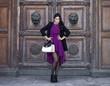 ������, ������: Young beautiful woman in a burgundy dress