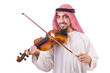 Arab man playing music on white