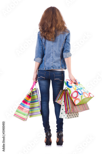 Young woman with bags after shopping