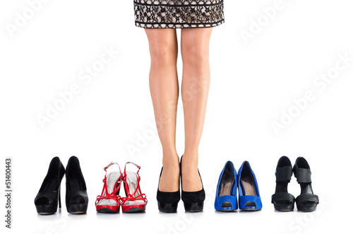 Choice of woman shoes on white