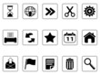 black Toolbar and Interface icons buttons