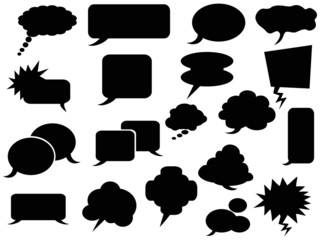 black speech bubbles icons