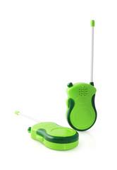 Toy walkie talkie on white background