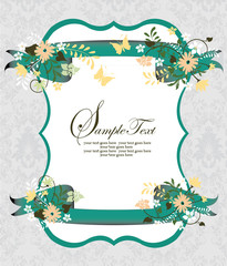 VECTOR ORNATE INVITATION CARD WITH FLORAL ELEMENTS