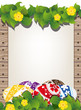 Easter eggs on the wooden fence background