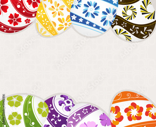 Painted Easter eggs with floral patterns