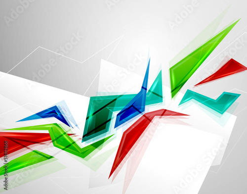 Colorful geometric shapes. Technology background
