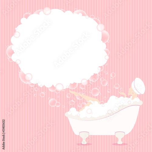 Woman In Bathtub Soap Bubbles Pink