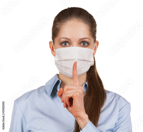 Woman in protective medical mask