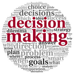 Decision making concept in tag cloud