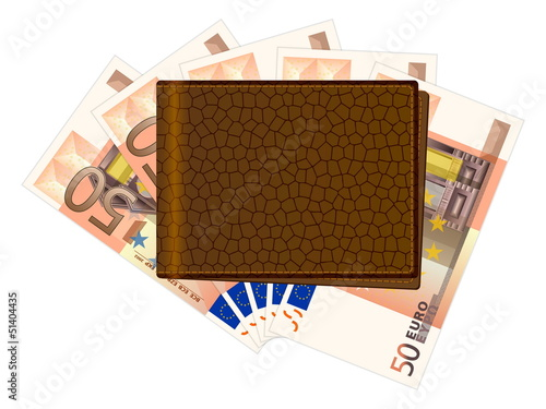wallet with fifty euro banknotes