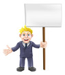 Cartoon suit man holding sign