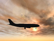 Conceptual plane silhouette at sunset