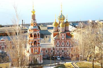 April view of Stroganov Church Nizhny Novgorod Russia