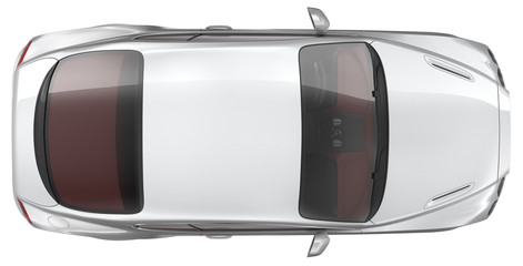 Luxury sports coupe car - Top view