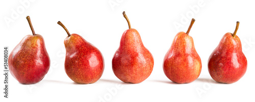 five red pears
