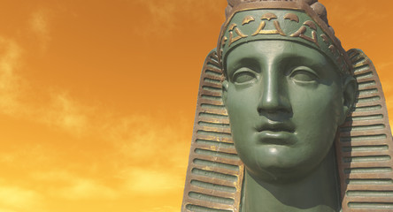 Sphinx statue against sunset sky - digital artwork