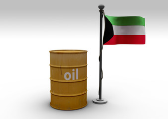 oil barrel and Kuwait flag