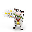 canvas print picture 3d rendered toon character - funny cow