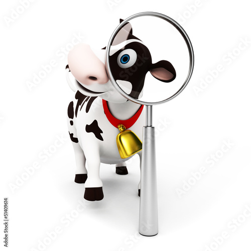 Papiers peints Ferme 3d rendered toon character - funny cow