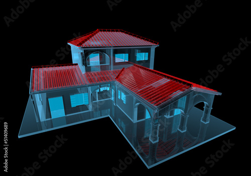 House (3D xray blue transparent)