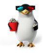 canvas print picture 3d rendered toon character - funny penguin