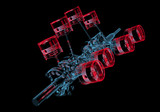 Crank shaft with pistons (3D xray red and blue transparent) poster