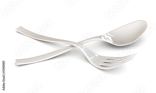 white plastic fork and spoon in a 3-d visualization