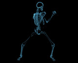 Fighting skeleton (3D xray blue transparent)