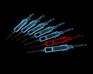 Syringes (3D xray red and blue transparent)