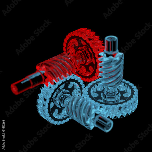 Gears (3D xray red and blue transparent)