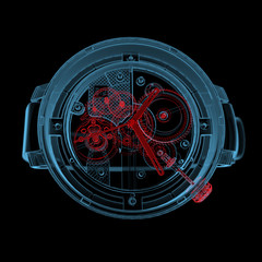 Wristwatch (3D xray red and blue transparent)