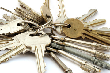 Close-up bunches of keys on rings