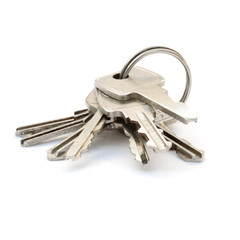 Keys on a ring with white background