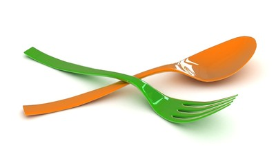 plastic fork and spoon in a 3-d visualization