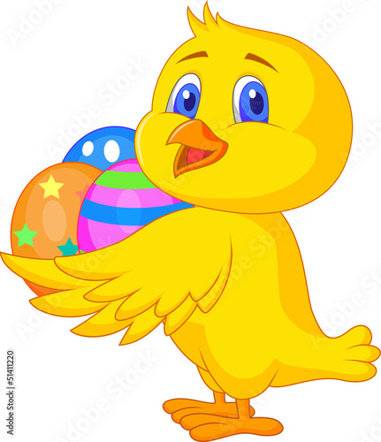 Cute chicken cartoon with easter egg