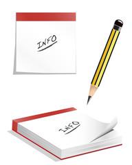 Infoblock/ Notizpapier und Bleistift