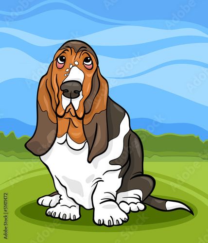 Foto op Canvas Honden basset hound dog cartoon illustration