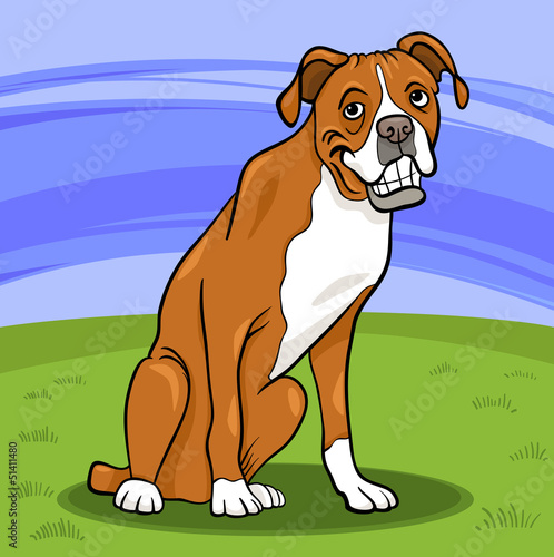 Foto op Canvas Honden boxer purebred dog cartoon illustration
