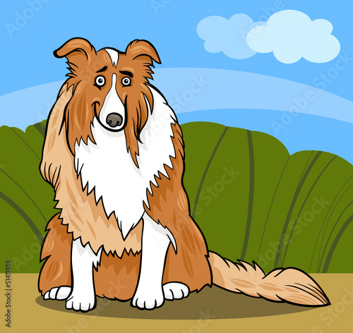 Fotobehang Honden collie purebred dog cartoon illustration