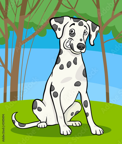 Aluminium Honden dalmatian purebred dog cartoon illustration
