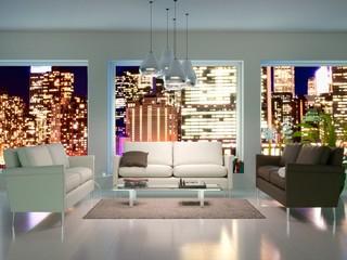 Urban Living Room at Night